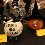 Another painted pumpkin (it was bedazzled!), and a really good witch with a little strobe light inside.