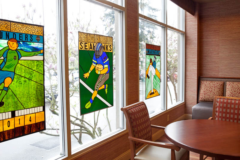 Watermark University allows residents to showcase their talent, as seen here with these stained glass pieces.