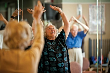 residents participating in a Tai Chi class