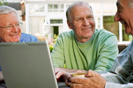Three senior men using laptop computer in the garden
