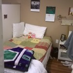 Just one of the bedrooms in a dorm-style facility. The women made up their rooms because they knew that guests were coming to see. A local grandmother who is connected to Sophia's Way hand-quilted and donated every single bedspread to the facility! What a touch of comfort and home.