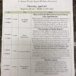 The schedule of presenters. Every seminar was a full house!