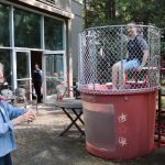 Arlene, among many other residents, got a bulls-eye and dunked Bob right away! Sorry Bob!!
