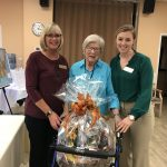 Our Wellness Nurse, Debbie Goeppele, Community Life Director, Erin Sattler, and the raffle prize winner, Martha! Congratulations, Martha!!