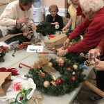 Residents used pinecones, ornaments, and ribbons to decorate their wreaths!